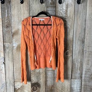 CAbi Crochet Lace Knit Cardigan Clasp closure